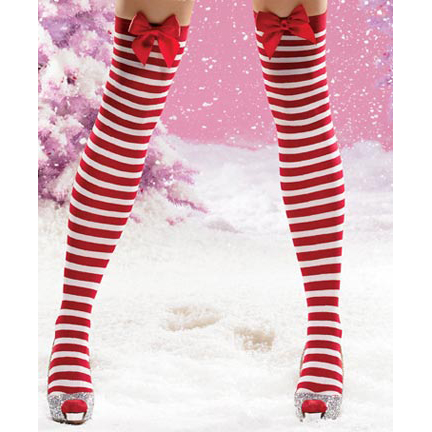 16118c7bc Candy cane over the knee socks